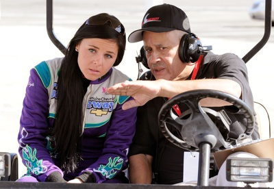 Natalie Sather of Fargo, N.D. talks with Drive for Diversity program mentor Wendell Scott Jr. during the Drive for Diversity Combine presented by Sunoco at South Boston Speedway. (Photo Credit: Grant Halverson/Getty Images for NASCAR)