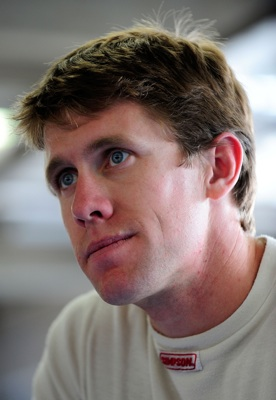 Carl Edwards relaxes in the garage prior to NASCAR Sprint Cup Series testing at Lowe's Motor Speedway. (Photo Credit: Rusty Jarrett/Getty Images for NASCAR)