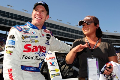 NASCAR Nationwide Series pole-sitter Carl Edwards meets television host Rachael Ray on pit road Saturday at Texas Motor Speedway before the O'Reilly Challenge. (Photo Credit: Rusty Jarrett/Getty Images for NASCAR)