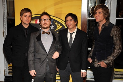 (Left to right) Rob Thomas, Paul Doucette, Brian Yaleand and Kyle Cook of the rock band Matchbox Twenty arrive at the NASCAR Sprint Cup Series Awards Ceremony at the Waldorf=Astoria on in New York City. (Photo Credit: Brad Barket/Getty Images for NASCAR)