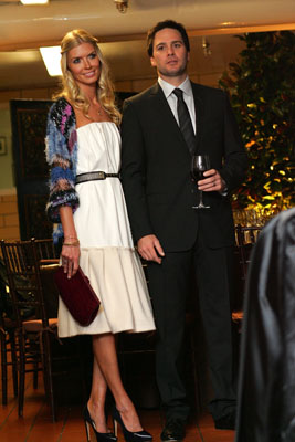 Chandra Johnson and 2008 NASCAR Sprint Cup Series champion Jimmie Johnson entertain guests before dinner in their honor on Monday at the Waldorf=Astoria in New York City, kicking off Champions Week. (Photo Credit: Chris Trotman/Getty Images for NASCAR)