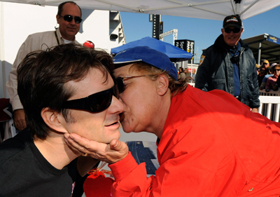 NASCAR Sprint Cup driver of the No. 24 DuPont Chevrolet Jeff Gordon thought a fan just wanted to whisper something in his ear, but what he got was a kiss on the cheek on Saturday at the Preseason Thunder Fan Fest at Daytona International Speedway. (Photo Credit: Rusty Jarrett/Getty Images for NASCAR)