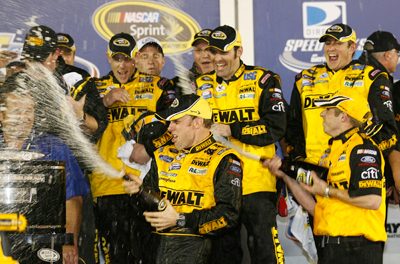 Matt Kenseth celebrates winning the 51st running of the Daytona 500 at Daytona International Speedway. Kenseth became the 33rd different driver to win