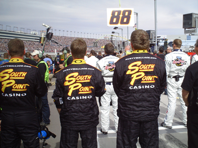 The No. 62 South Point Hotel & Casino team lineup for the National Anthem Dale before the start of the Sam's Town 300 at Las Vegas Motor Speedway on Saturday, February 28, 2009 (photo credit: The Fast and the Fabulous)