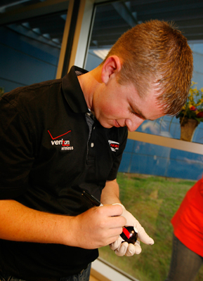 Justin Allgaier won top rookie honors for his black and red egg that matches his car's paint scheme in Friday's egg dying contest. (Photo Credit: John Sommers II/Getty Images for NASCAR)
