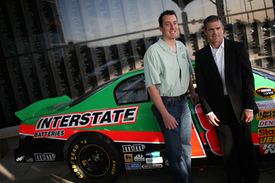 NASCAR driver Kyle Busch and driver Bobby Labonte unveil a throw-back paint scheme on the #18 Interstate Batteries Toyota Camry during the Texas Motorsports Hall of Fame Banquet held Wednesday, April 1, 2009 at The Speedway Club at Texas Motor Speedway. The paint scheme is the same scheme that Labonte drove during his 2000 Championship year. (Photo By Tom Pennington/Getty Images for the Texas Motor Speedway)
