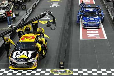 Left to right) The No. 31 Richard Childress Racing Caterpillar team defeats the No. 43 Richard Petty Motorsports Air Force team in the NASCAR Sprint Pit Crew Challenge Presented by Craftsman Final Thursday at Time Warner Cable in Charlotte, N.C. (Photo Credit: John Harrelson/Getty Images for NASCAR)