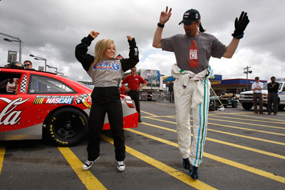 Shawn Johnson and Kyle Petty at Lowe's Motor Speedway (credit: NASCAR)