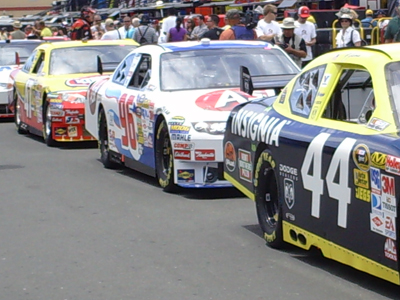 Sprint Cup cars wait for practice to start for the Toyota/SaveMart 350 at Infineon Raceway on Friday, June 19, 2009 (photo credit: The Fast and the Fabulous)