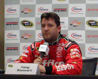 Tony Stewart fields questions from the media during a press conference at Infineon Raceway on Friday, June 19, 2009 (photo credit: The Fast and the Fabulous)