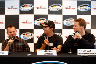 (Left to Right) Jason Leffler, Mike Bliss and Brad Keselowski talk Friday about the NASCAR Nationwide Series Federated Auto Parts 300 at the Nashville Superspeedway (Photo Credit: Chris Graythen/Getty Images for NASCAR)