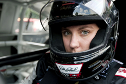 Taylor Earnhardt, daughter of seven-time NASCAR Sprint Cup Series champion Dale Earnhardt, gets behind the wheel to drive her father's famous No. 3 GM Goodwrench Chevrolet at The Goodwood Festival of Speed at The Goodwood Estate on Friday in Chichester, England. (Photo Credit: Peter Fox/Getty Images for NASCAR)