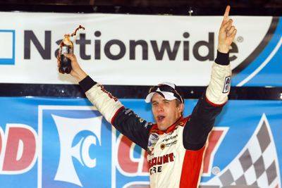 David Ragan celebrates winning the Food City 250 at Bristol Motor Speedway, his second career NASCAR Nationwide Series victory. (Photo Credit: Jason Smith/Getty Images for NASCAR)