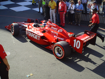 Dario Franchitti drives into Victory Lane on Sunday, August 23, 2009 at the Indy Grand Prix of Sonoma at Infineon Raceway (photo credit: The Fast and the Fabulous)