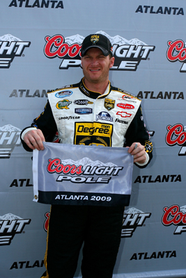 Dale Earnhardt Jr., driver of the No. 5 Degree V12 Chevrolet, earned the pole position for the NASCAR Nationwide Series Degree V12 300 at Atlanta Motor Speedway on Saturday in Hampton, Ga. (Photo Credit: Jason Smith/Getty Images)