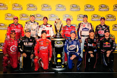 The 2009 Chase for the NASCAR Sprint Cup field (From left, top row: Tony Stewart, Carl Edwards, Greg Biffle, Mark Martin, Jimmie Johnson, Jeff Gordon. From left, bottom row: Juan Pablo Montoya, Ryan Newman, Kasey Kahne, Kurt Busch, Denny Hamlin, Brian Vickers) pose after the Chevy Rock & Roll 400 at Richmond International Raceway. (Photo Credit: Rusty Jarrett/Getty Images for NASCAR)