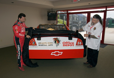 Tony Stewart introduced Dragon Dojo Martial Arts, owned by Shihan Robert Wiest, as the 2009 Official Small Business of NASCAR, Courtesy of Office Depot during a special press event at the speedway on Saturday, September 5, 2009 (credit to Action Sports Photography)