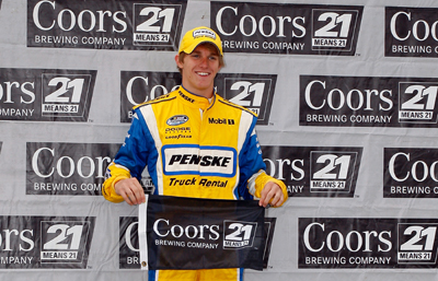 After having one of the top 10 fastest cars in Friday's practices at Kansas Speedway, first-time NASCAR Natiowide Series racer Parker Kligerman, driver of the No. 22 Penske Truck Rental Dodge, nabbed the pole on Saturday for the Kansas Lottery 300. (Photo Credit: Geoff Burke/Getty Images for NASCAR)