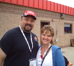 Racing fans Shari & Steve on Sunday, October 11, 2009 at Auto Club Speedway in Fontana, CA (photo credit: The Fast and the Fabulous)