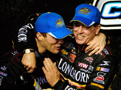 Ron Hornaday Jr. and team owner Kevin Harvick celebrate Hornaday's NASCAR Camping World Truck Series championship and Harvick's Ford 200 win at Homestead-Miami Speedway. The championship is Hornaday's fourth in the series and the second for Kevin Harvick Inc. (Photo Credit: Sam Greenwood/Getty Images)