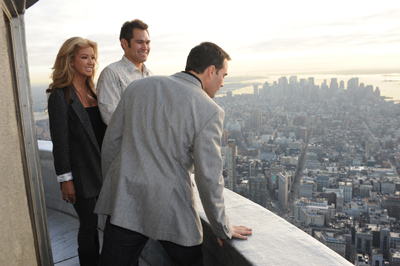 Two-time MLB World Series champion Johnny Damon and wife Michelle look on as Jimmie Johnson looks down from the Empire State Building's private 103rd floor with no railing Tuesday on Jimmie Johnson Day in New York City. (Photo Credit: Empire State Building)