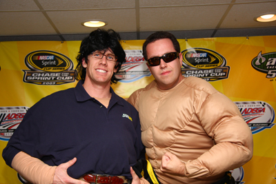 (Left to right) NASCAR Sprint Cup Series driver Carl Edwards and Subway's Jared Fogle dress as each other to celebrate Halloween at Hallowdega Saturday at Talladega Superspeedway in Talladega, Ala. (Photo Credit: Stephen Arce/Action Sports Photography)
