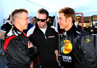 (Left to right) NASCAR Sprint Cup Series drivers AJ Allmendinger and Jamie McMurray talk during Daytona KartWeek By Cometic Gasket events at Daytona International Speedway. (Credit: Don Bok/Motorsports Images and Archives)