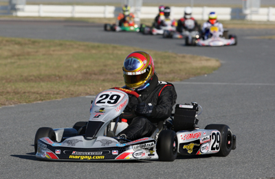 NASCAR Sprint Cup Series driver AJ Allmendinger takes a spin in his go-kart during Daytona KartWeek By Cometic Gasket events at Daytona International Speedway (Credit: Don Bok/Motorsports Images and Archives)