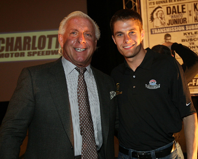 Pro wrestler Ric Flair is welcomed back to NASCAR by David Ragan Wednesday on the NASCAR Sprint Cup Media Tour Hosted by Charlotte Motor Speedway in Concord, N.C. (Credit: Harold Hinson Photography)
