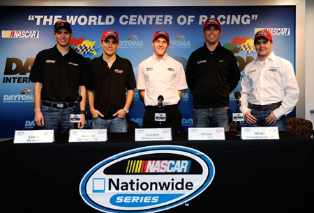 The 2010 Raybestos Rookie of the Year contenders Colin Braun, James Buescher, Parker Kllgerman, Brian Scott and Ricky Stenhouse Jr. pose in the media center before Thursday's NASCAR Nationwide Series practice at Daytona International Speedway. (Credit: by Rusty Jarrett/Getty Images for NASCAR)