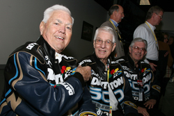 Daytona 500 Grand Marshall Junior Johnson (left) jokes with Honorary Starters Glen (middle) and Leonard Wood during the pre-race Drivers Meeting. (Credit: Jerry Markland/Getty Images for NASCAR)