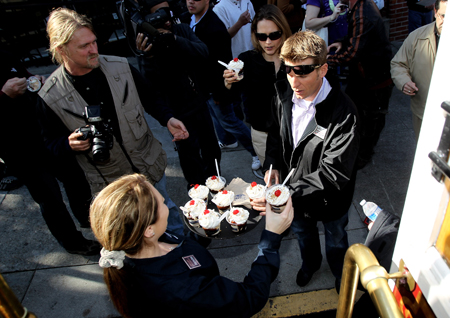 Daytona 500 champion Jamie McMurray stops for an ice cream sundae at Ghirardelli Square during his victory tour of San Francisco on February 17, 2010 in San Francisco, California. (Photo by Ezra Shaw/Getty Images)