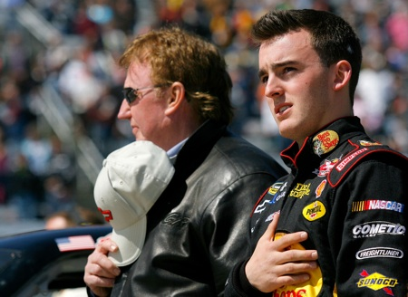Austin Dillon stands with his team owner - and grandfather - Richard Childress before the Kroger 250 at Martinsville Speedway. (Credit: Jason Smith/Getty Images for NASCAR)