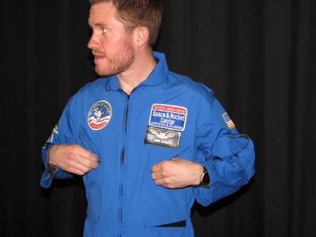 Brian Vickers gears up in his personalized flight suit at the U.S .Space and Rocket Center in Huntsville, Ala. Vickers was on hand to promote the Aaron's Dream Weekend at Talladega Superspeedway, April 23-25. (Credit: Photo courtesy of Talladega Superspeedway)