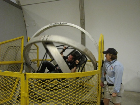 Brian Vickers goes for a spin in an Astronaut Trainer at the U.S. Space and Rocket Center in Huntsville, Ala.