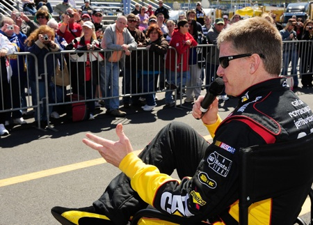 Driver Jeff Burton sat down and talked to fans about NASCAR at Tuesday's test at Charlotte Motor Speedway. (Credit: Rusty Jarrett/Getty Images for NASCAR)