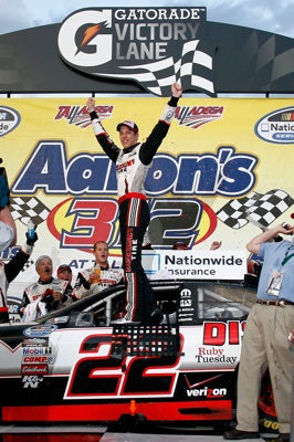 Brad Keselowski celebrates winning the Aaron's 312 at Talladega Superspeedway, a win that gave him the points lead in the NASCAR Nationwide Series. (Credit: Jason Smith/Getty Images)