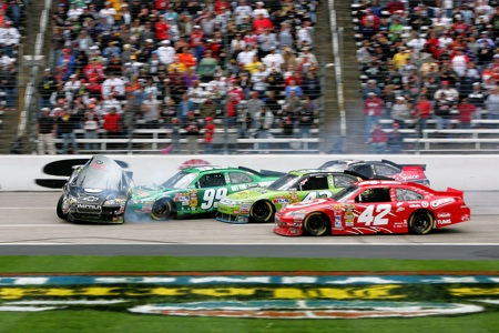 A multiple-car incident on lap 319 brought out the red flag after collecting Jeff Gordon, Tony Stewart, Carl Edwards, AJ Allmendinger and Juan Pablo Montoya. Also involved were Jamie McMurray, Joey Logano, Clint Bowyer and Paul Menard. No one was injured. (Credit: Jerry Markland/Getty Images for NASCAR)
