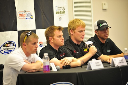 Drivers Justin Allgaier, Jason Leffler, Steve Wallace and Brian Scott answer questions in the media center on Friday at Kentucky Speedway. (Credit: Grant Halverson/Getty Images)