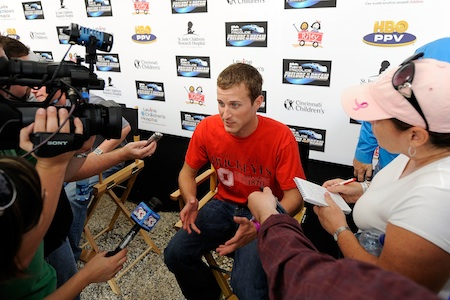 Kasey Kahne, Driver of the #9 Budweiser late model, talks with the media during the Gillette Fusion ProGlide Prelude to the Dream at Eldora Speedway on June 9, 2010 in Rossburg, Ohio. (Photo by John Harrelson/Getty Images for True Speed Communication)