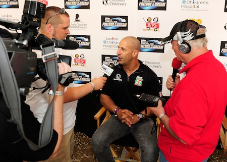 Tony Kanaan, driver of the #11 Seven Eleven late model speaks with the media during the Gillette Fusion ProGlide Prelude to the Dream at Eldora Speedway on June 9, 2010 in Rossburg, Ohio. (Photo by Rusty Jarrett/Getty Images for True Speed Communication)