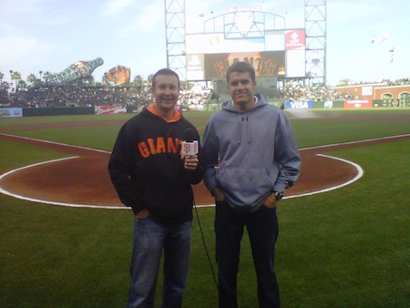 NASCAR Sprint Cup Series drivers Kurt Busch and David Ragan 'give the command' --'Play Ball!' -- to start the San Francisco Giants baseball game Tuesday in San Francisco. (photo credit: NASCAR Public Relations)
