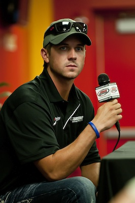 Des Moines, Iowa native Michael Annett, currently 14th in the NASCAR Nationwide Series point standings talks with his home state media Friday at Iowa Speedway in Newton, Iowa (Credit: Jennifer Coleman)