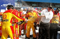 Kevin Harvick and team owner Richard Childress celebrate the win in Victory Lane at Michigan International Speedway.(Credit: Jason Smith/Getty Images for NASCAR)