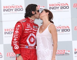 Dario Franchitti and his wife, Ashley Judd, celebrate his win at Mid-Ohio