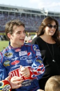 Race car driver Jeff Gordon and his wife Ingrid Vandebosch stand on pit road before the start of the NASCAR Coca-Cola 600 Race at the Charlotte Motor Speedway in Concord, North Carolina on May 30, 2010. UPI/Nell Redmond . Photo via Newscom