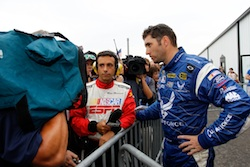 (Right to left) Elliott Sadler talks with ESPN's Mike Massaro after being evaluated and released from the Pocon Raceway infield care center following an incident that led to a 28 minute-46 second red flag following lap 166 on Sunday in Long Pond, Pa. (Credit: Chris Trotman/Getty Images for NASCAR)