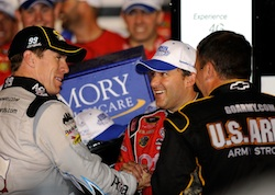 Tony Stewart is congratulated by race runner-up Carl Edwards and Stewart Haas Racing teammate Ryan Newman in Victory Lane at Atlanta Motor Speedway after winning the NASCAR Sprint Cup Series Emory Healthcare. (Credit: Rusty Jarrett/Getty Images for NASCAR)
