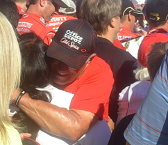 Tony Stewart's dad celebrates with his son in victory lane at the Pepsi Max 400 at Auto Club Speedway in Fontana, Calif on Sunday, October 10, 2010 (credit: the fast and the fabulous)