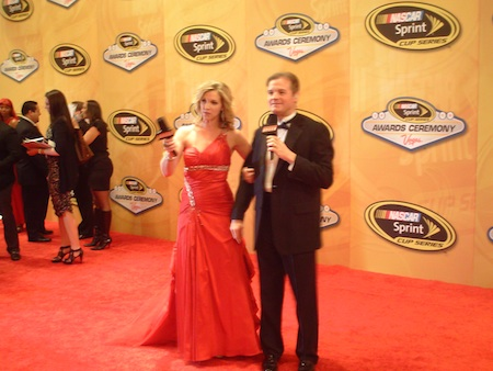 Krista Voda and Kenny Wallace practice their red carpet show for SPEED